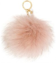 Michael Michael Kors - Portachiavi con pompon - women - Fox Fur - One Size - PINK & PURPLE