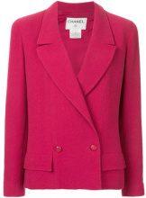 Chanel Vintage - double-breasted blazer - women - Silk/Nylon/Spandex/Elastane/Wool - 42 - PINK & PURPLE