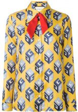 Gucci - GG Wallpaper print shirt - women - Silk - 42 - YELLOW & ORANGE