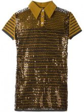 Jean Paul Gaultier Vintage - Polo con paillettes - women - Cotton/Polyamide/Polyester - 42 - BROWN