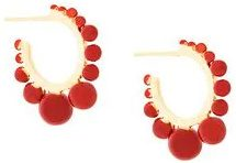 Aurelie Bidermann - Orecchini 'Ana' - women - Gold Plated Brass - One Size - RED