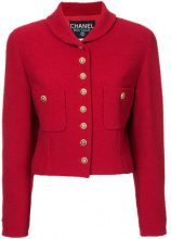 Chanel Vintage - clover buttons cropped jacket - women - Wool/Nylon - 42 - RED