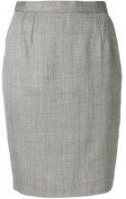 Fendi Vintage - Gonna aderente - women - Wool/Silk/Acetate/Polyamide - 42 - GREY