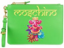 Moschino - Clutch stampata - women - Calf Leather/Polyester - OS - GREEN