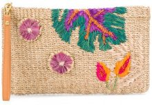 Aranaz - Caba leaf embroidered clutch - women - Straw - OS - NUDE & NEUTRALS