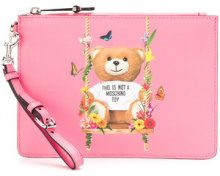 Moschino - Pochette con stampa 'Toy Bear' - women - Leather - One Size - PINK & PURPLE