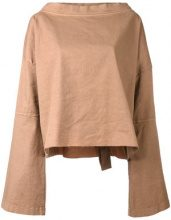Andrea Ya'aqov - bell sleeve T-shirt - women - Cotton/Linen/Flax/Spandex/Elastane - S - NUDE & NEUTRALS