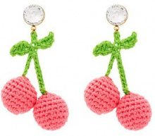 Venessa Arizaga - Orecchini 'Cherry' - women - Cotton/Crystal/Gold Plated Brass - OS - PINK & PURPLE