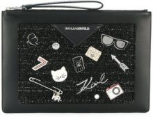 Karl Lagerfeld - Klassik Pins clutch - women - Calf Leather/Polyamide/Wool/Acrylic - OS - BLACK