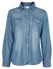 Phoebe camicia di jeans a vestibilità slim con choker