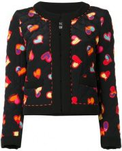 Boutique Moschino - hearts print open jacket - women - Silk/Polyester/Cotton - 42 - BLACK