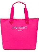 Twin-Set - Borsa Tote con logo stampato - women - Polyurethane/Cotton/Polyester - OS - PINK & PURPLE