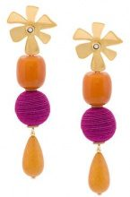 Lizzie Fortunato Jewels - hanging drop earrings - women - Pearls/metal - One Size - Marrone