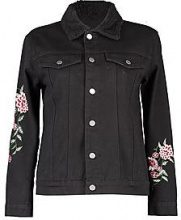 Petite Demi Borg Collar Embroidery Denim Jacket