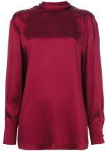 Valentino - Blusa a collo alto - women - Silk - 42 - RED