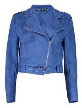 Petite Bethany Belted Suedette Biker Jacket