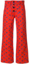 Kenzo - Pantaloni crop a fiori - women - Cotton - 38 - RED