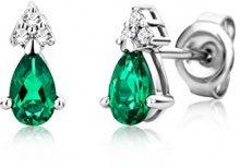 Miore Orecchini Donna Piccoli a Lobo con Diamanti taglio Brillante Smeraldo Oro Bianco 9 Kt/375
