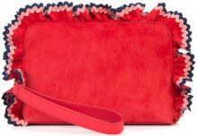 Loeffler Randall - ruffle wristlet clutch bag - women - Suede - OS - RED