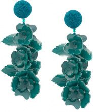 Oscar de la Renta - Climbing Flower earrings - women - Plastic/glass/Silk/Nylon - One Size - GREEN