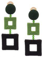 Oscar de la Renta - wrapped double square clip-on earrings - women - Silk/Brass/glass - OS - GREEN