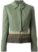 Jean Louis Scherrer Vintage - Giacca aderente - women - Leather/Polyamide/Wool - 40 - GREEN