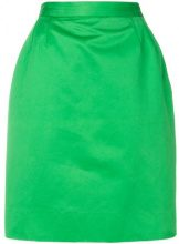 Yves Saint Laurent Vintage - high-waisted pencil skirt - women - Cotton/Acetate - 42 - GREEN