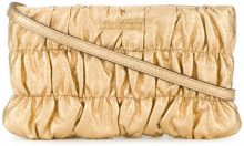 Michael Michael Kors - ruched clutch bag - women - Leather - One Size - METALLIC
