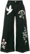 Alexander McQueen - Jeans a gamba ampia - women - Cotone/Brass/glass - 38, 42 - Nero