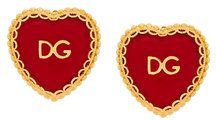 Dolce & Gabbana - Sacred Heart clip-on earrings - women - Brass/Enamel - One Size - RED