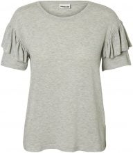 NOISY MAY Frill Short Sleeved Top Women Grey