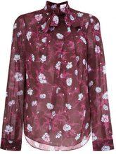 Carven - Blusa a fiori con fiocco - women - Polyester - 38 - PINK & PURPLE