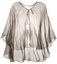 Maria Lucia Hohan - mousseline cape - women - Silk - One Size - GREY