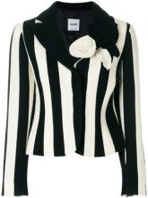 Moschino Vintage - flower appliquée striped blazer - women - Rayon/Wool - 42 - BLACK