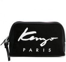 Kenzo - canvas logo pouch clutch bag - women - Leather/Polyurethane/Nylon/Cotton - One Size - BLACK