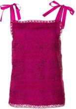 Alberta Ferretti - Top con fiocchi sulle spalle - women - Silk/Polyester/Spandex/Elastane/Acetate - 42 - PINK & PURPLE