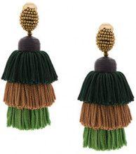 Oscar de la Renta - tiered tassel earrings - women - Silk/Brass/glass - OS - Verde