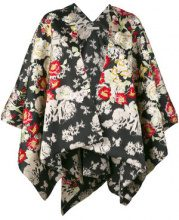 Ermanno Gallamini - floral waterfall hem jacket - women - Polyamide/Viscose/Silk Satin - OS - BLACK