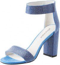 Jeffrey Campbell 1-Lindsay JS, Scarpe Col Tacco Punta Aperta Donna, Blu (Fabric Blue 001), 37 EU