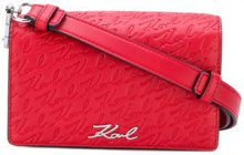 Karl Lagerfeld - embossed logo mini bag - women - Polyurethane - OS - RED