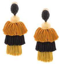 Oscar de la Renta - tassel earrings - women - Silk/Brass/glass - OS - BLACK
