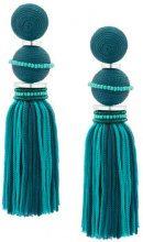 Oscar de la Renta - two toned ball tassel earrings - women - Silk/Plastic/Brass/Nylon - OS - GREEN