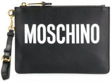Moschino - logo print clutch - women - Leather - OS - BLACK
