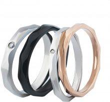 Set di 2 anelli per partner in acciaio inox con strass