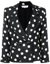 Yves Saint Laurent Vintage - polka dots blazer - women - Silk/Cotton - 40 - BLACK