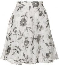 Versace Vintage - floral flared skirt - women - Silk - 42 - WHITE