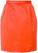 - Yves Saint Laurent Vintage - straight short skirt - women - seta/cotone/fibra sintetica/acetato - 42 - di colore arancione