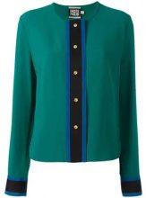 - Fausto Puglisi - Camicia senza colletto - women - fibra sintetica/acetato - 42 - di colore verde