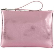 Gum - metallic textured clutch - women - Polyurethane - OS - PINK & PURPLE