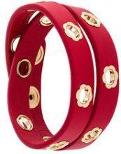 Salvatore Ferragamo - Braccialetto a doppio giro con fiore - women - Calf Leather/Brass - One Size - RED